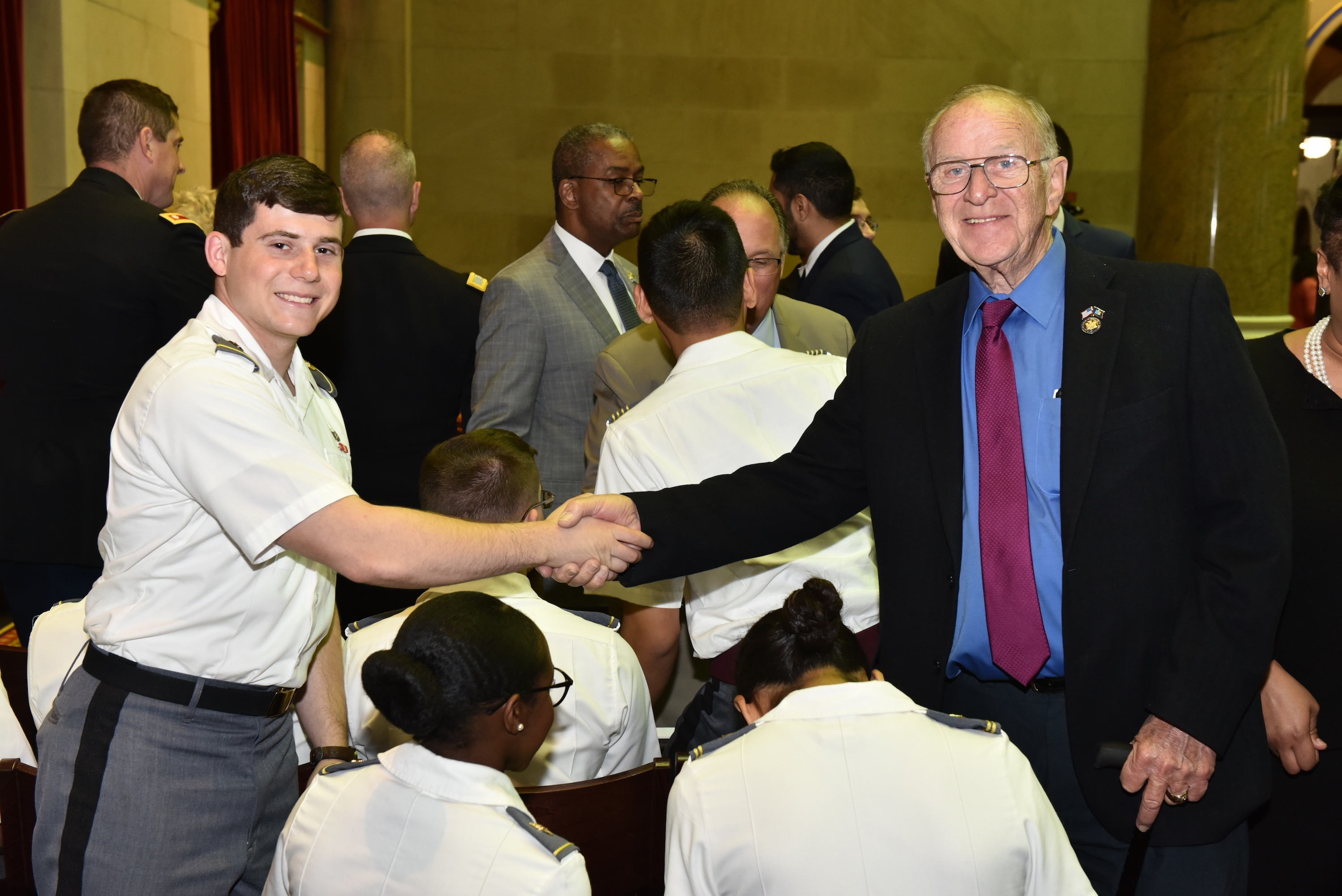 Assemblyman Dave McDonough (R,C,I-Merrick) welcomes West Point Cadet and constituent Matthew Montera to the Assembly Chamber Wednesday, May 1.