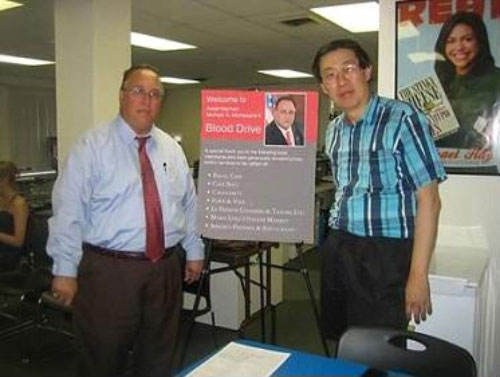 Montesano-sponsored Blood Drive a community success:  Assemblyman Montesano with John Lau of Glen Head.