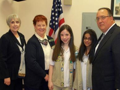 Assemblyman Montesano (right) meets with local girl scouts, Samantha (center) and Kavita (second from right), Chief Executive Officer of Girl Scouts Nassau County Donna Ceravolo (left), and volunteer Sheila Bohan (second from left).