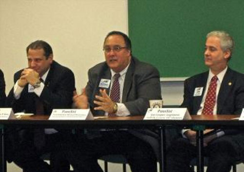 Assemblyman Montesano (center) speaking at a Long Island forum on January 26, 2011.