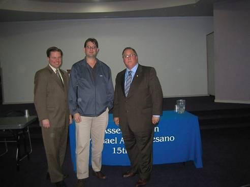 Assemblyman Tom McKevitt (left), Westbury Library President Eric Dobrin, and Assemblyman Michael Montesano (right).