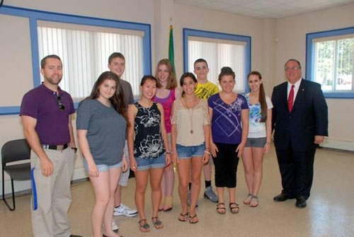 Assemblyman Michael Montesano with Bethpage High School participants from his May 29 simulated press conference.