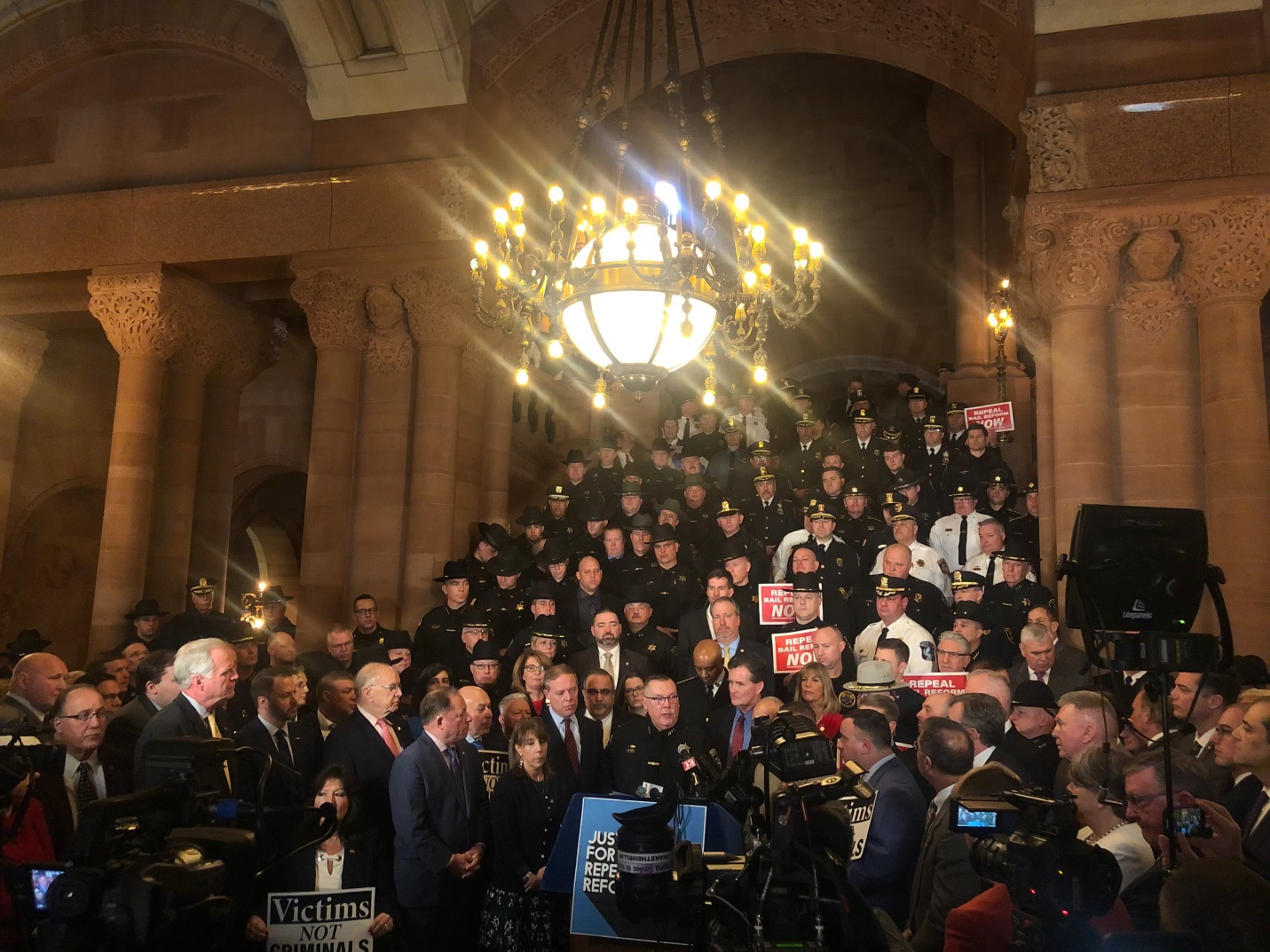 Assemblyman Michael Montesano (R,C,I-Glen Head) attended a rally to repeal bail reform at the State Capitol on Tuesday, February 4 with law enforcement officials, Assembly colleagues and state senator