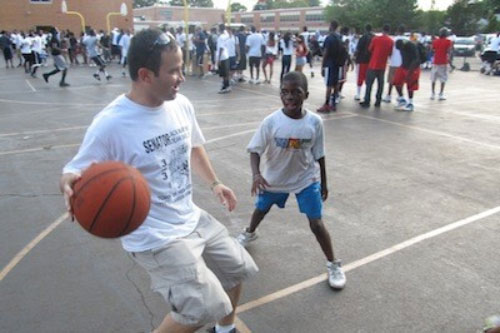 Assemblyman Ra playing hoops with a future superstar at the 3-on-3 at Dutch!