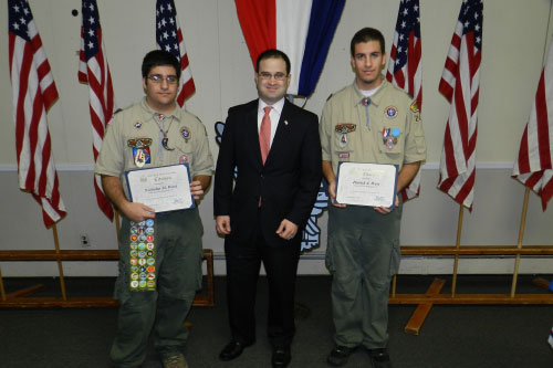Assemblyman Ed Ra honors Patrick and Nicholas West of Troop 240 in West Hempstead on their elevation to Eagle Scout. Congratulations to Patrick and Nicholas for their hard work, dedication, and service to our community!