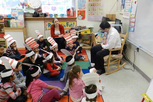 "In honor of Dr. Seuss' birthday, I was able to spend ""Read Across America Day"" with the 1st grade class at Chestnut Street Elementary School. The students were a joy to read to, and I hope they enjoyed the story as much as I did sharing it with them."