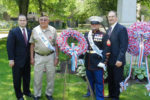 I was honored to be included in the Memorial Day services, and I want to thank the members of the American Legion, VFW and others who helped make the events so remarkable. It is truly important that we take time to pause and remember the men and women of the armed forces for their sacrifices on our behalf. Pictured, left to right, Assemblyman Ed Ra; John Terrasi, USN (Ret.); Albert Maldanado,USMC; and Nassau County Legislator Vinny Muscarella.