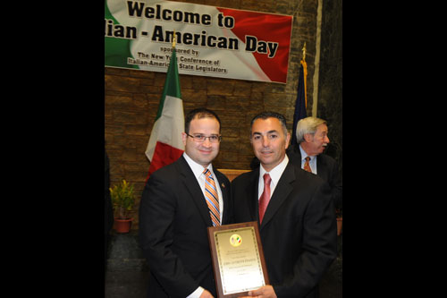 Assemblyman Edward P. Ra (21st Assembly District) (left) recently joined members of the Conference of Italian-American State Legislators to celebrate Italian-American Day at the Capitol. The day served as a celebration of Italian-Americans' contribution to the history of New York state. A moment of silence also was observed to coincide with a national day of mourning in Italy to remember those who perished during last month's earthquakes. During the day's celebration, Mets reliever John Franco (right) was honored. Franco, an Italian-American hailing from Brooklyn, played for the Mets from 1990 until 2004, and was recently inducted into the Mets Hall of Fame.