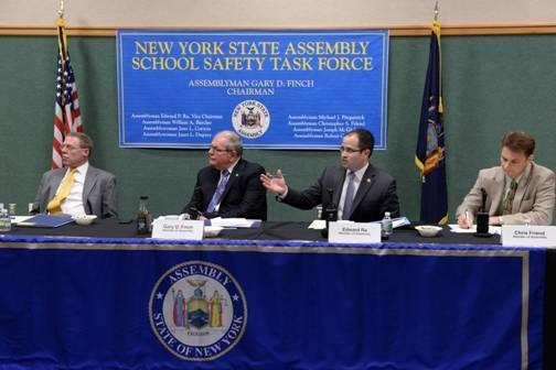 Assemblyman Ed Ra (second from right) speaks during the New York State Assembly's Minority School Safety Task Force, held in Auburn, NY on April 4.