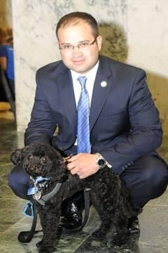 Assemblyman Ed Ra's dog, Carter, joins him in Albany for Animal Advocacy Day.
