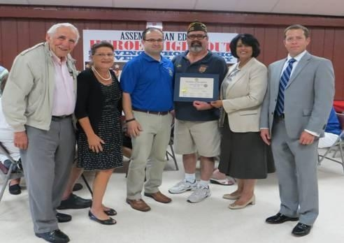 Pictured Left to Right: Louis Palermo, Commander, Franklin Square American Legion Post #1014; County Clerk Maureen O'Connell; Assemblyman Ed Ra; John McManamy, Commander, Franklin Square VFW Post #2718,Hempstead Town Clerk Nasrin Ahmad; and Thomas Rademaker.