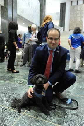 Assemblyman Ed Ra celebrated Animal Advocacy Day with his dog, Carter.
