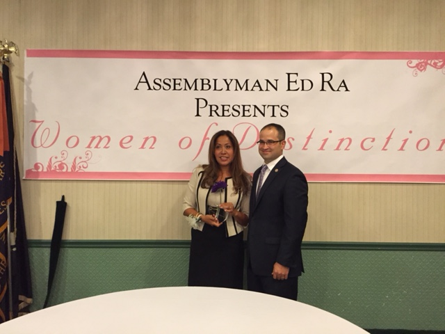 Assemblyman Ed Ra stands with 2015 Honoree Nina McCann of Williston Park.