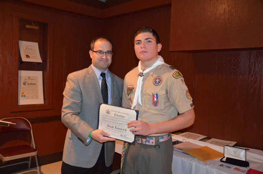 Assemblyman Ed Ra stands with Troop 93's newest Eagle Scout, Noah Tomicich.