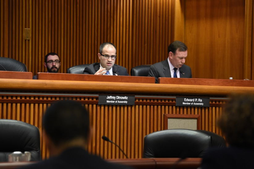 Assemblyman Ed Ra (R-Franklin Square) questions DOT Commissioner Driscoll at Wednesday's Joint Budget Hearing in Albany<br />