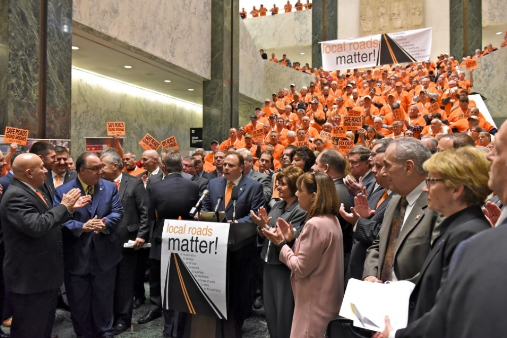 Assemblyman Ed Ra (R-Franklin Square) joined legislators and highway workers at a rally in Albany Wednesday to call for increased infrastructure funding<br />