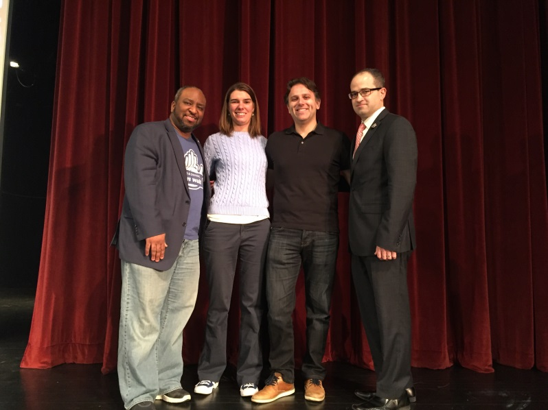 [Pictured from left] Brandon Ray, Regional Director of AT&T External Affairs-Long Island, Jacy Good and Steve Johnson from Hang Up and Drive and Assemblyman Ed Ra (R-Franklin Square).<br />
