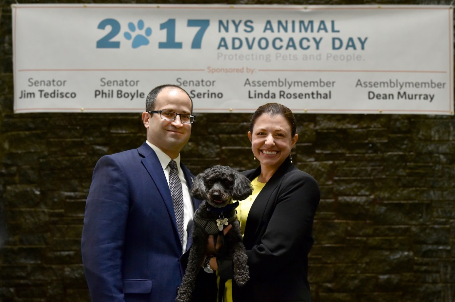 Assemblyman Ed Ra (R-Franklin Square) was joined in Albany by his wife Laura and their dog Carter for the legislature's 7th Annual Animal Advocacy Day<br />
