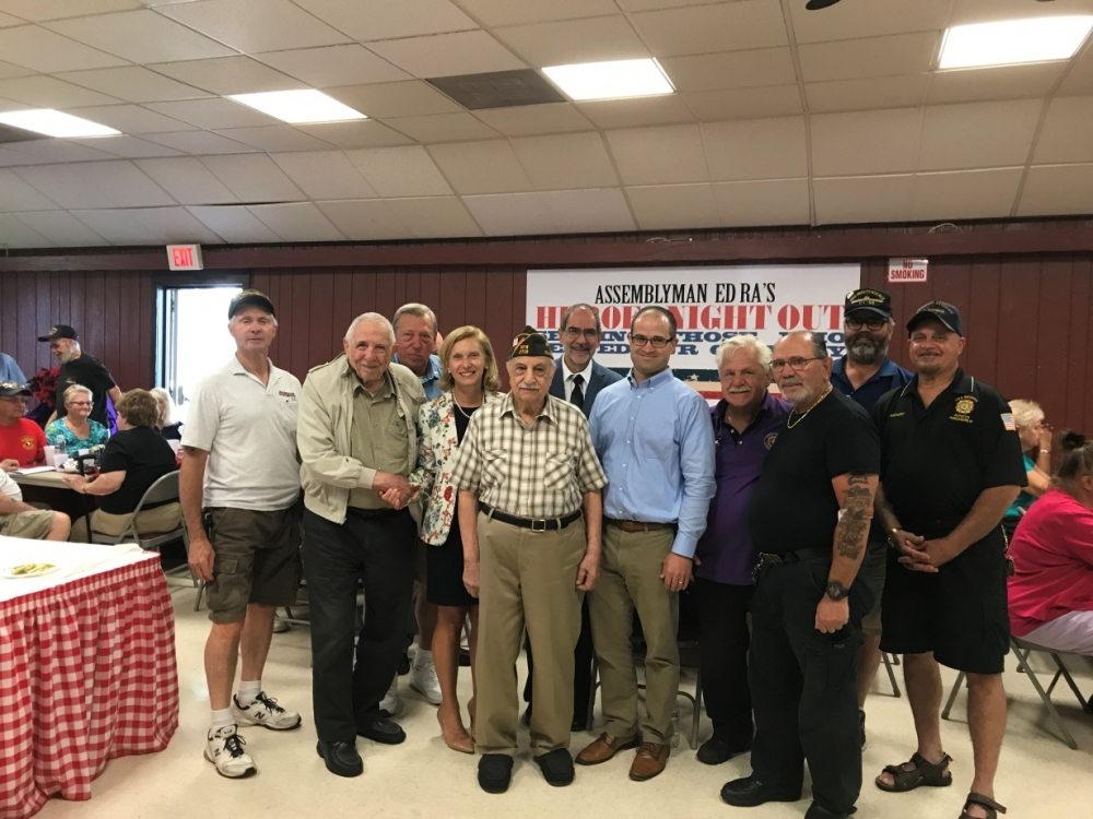 Assemblyman Ed Ra (R-Franklin Square) is proud to spend time with and help give back to local veterans at his annual Heroes Night Out BBQ.<br />