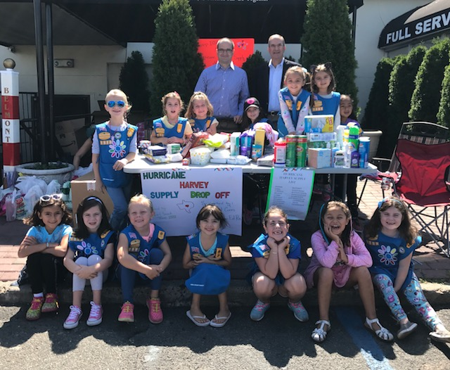 Assemblyman Ed Ra (R-Franklin Square) hosted a disaster relief drive for Hurricane Harvey with Girl Scout Troop 1888 and Rock Out Cures Inc.<br />