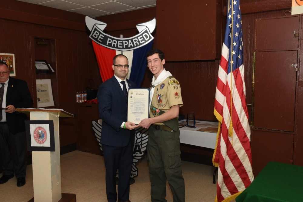Assemblyman Ed Ra (R-Franklin Square) presented a citation to Franklin Square's newest Eagle Scout Connor O'Grady of Troop 93 on Friday, January 5.<br />