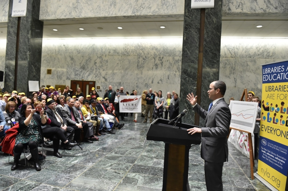 Assemblyman Ed Ra (R-Franklin Square) spoke at the New York Library Association's Library Advocacy Day on February 28, about bringing library aid levels into the modern era.