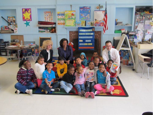 Ed visiting Alden Terrace School.
