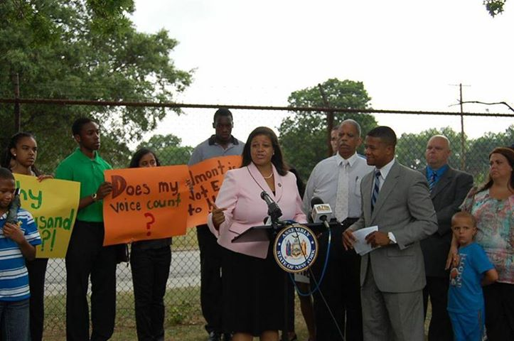 Assemblywoman Solages holds a press conference in opposition to proposed soccer stadium to be built at Belmont Park