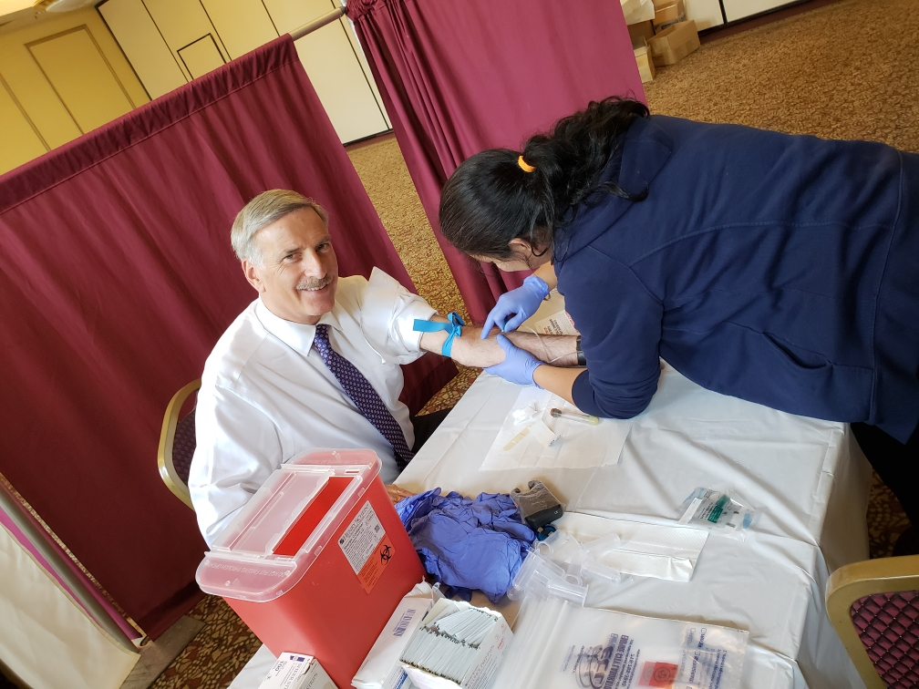 Assemblyman David Weprin receives a Measles Titer Test.