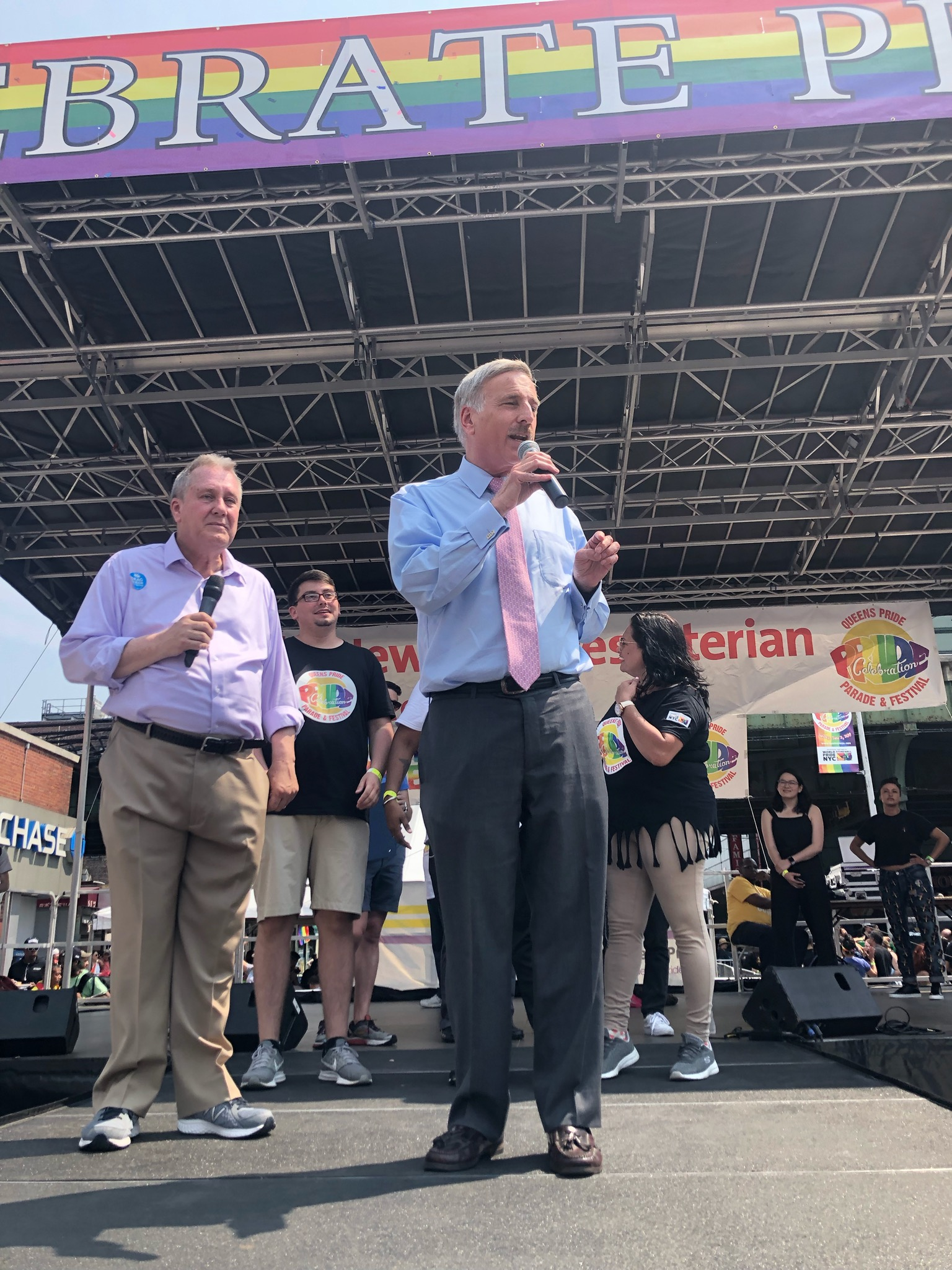 Assemblyman Weprin speaks at Queens Pride Parade with Council Member Daniel Dromm.