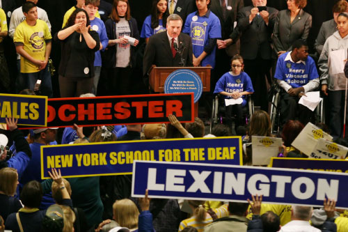 Assemblyman Weprin joins rally in support of children with physical disabilities attending 4201 schools.