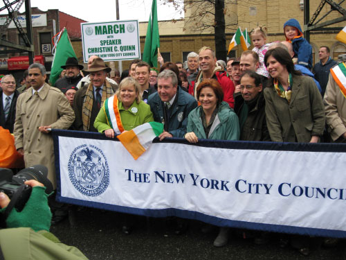 Assemblyman Wepin at the St. Patricks Day for All Parade in Woodside, Queens.