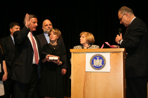 Assembly Member David I. Weprin being inducted as a Member of the New York State Assembly by United States Senator Charles E. Schumer, on Sunday May 16, 2010, at The Queens High School of Teaching. Assembly Member Weprin is joined by his wife, Ronni; his mother Sylvia; and his brothers Barry Weprin and City Council Member Mark Weprin.