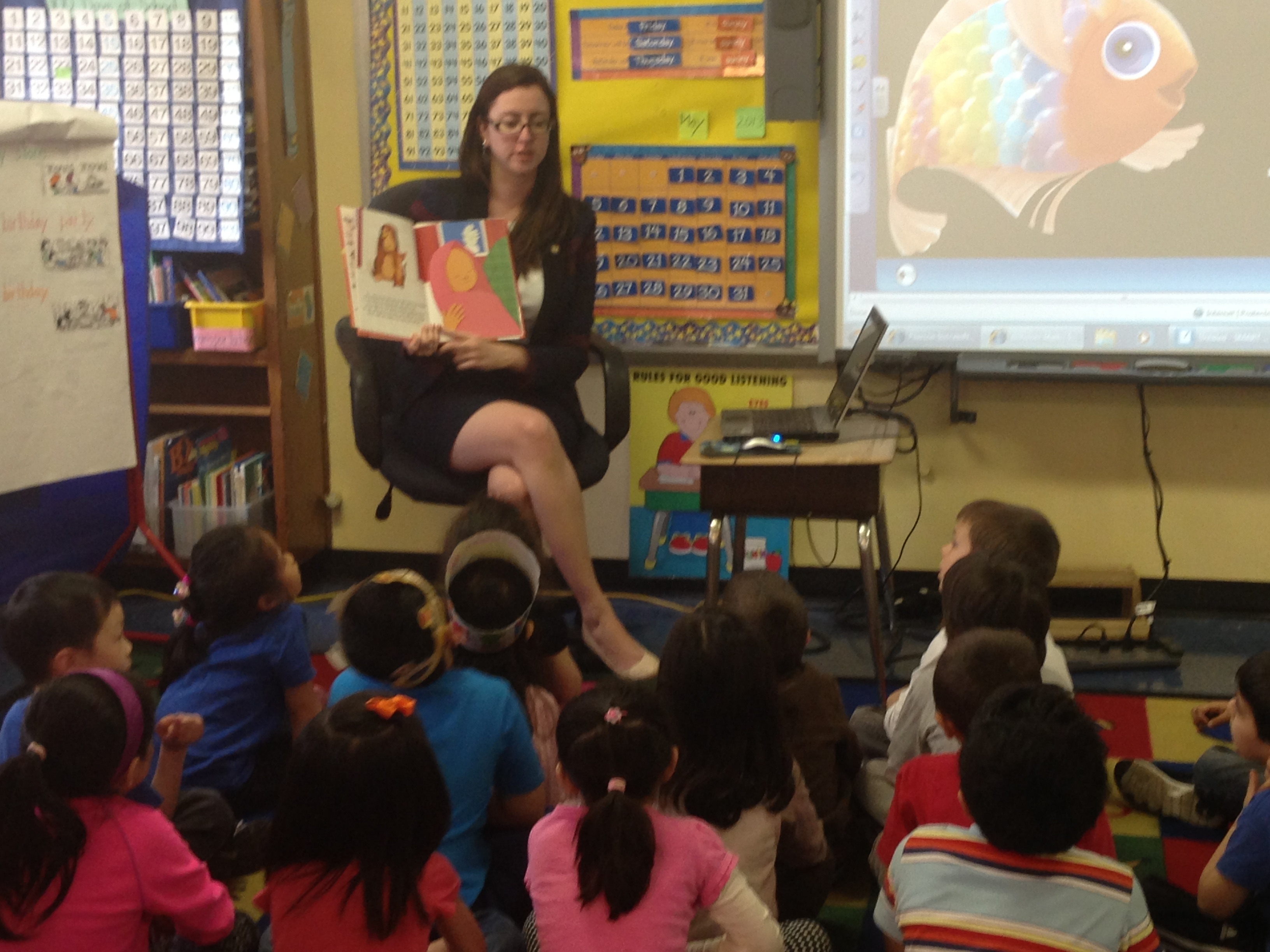 Assemblywoman Nily Rozic read to her old kindergarten class at P.S. 173 in Fresh Meadows as part of �Proud to Read Aloud Day�.