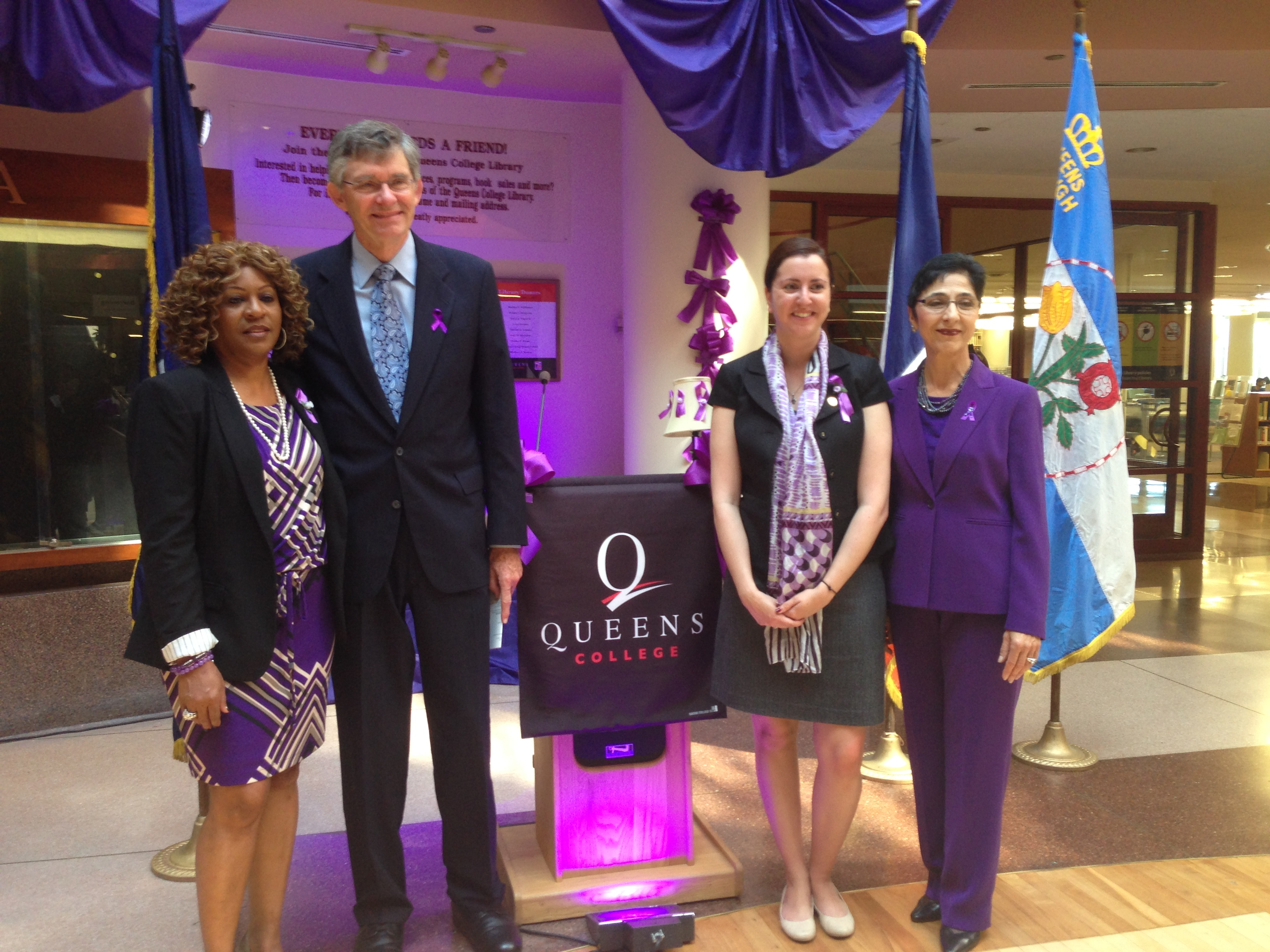 Assemblywoman Nily Rozic participated in the �Shine the Light on Domestic Violence� ceremony at Queens College to promote awareness on domestic violence.