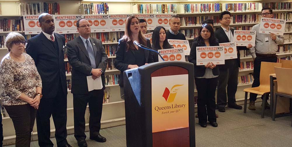 Assemblywoman Nily Rozic announced a SCRIE (Senior Citizens Rent Increase Exemption) enrollment event at the Queens Library at Fresh Meadows.<br />