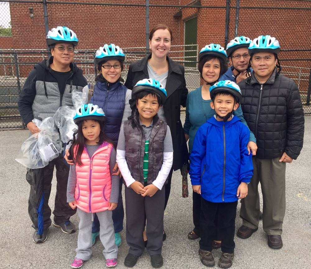 Assemblywoman Nily Rozic teamed up with the City Department of Transportation to organize a free bike helmet giveaway that was held at P.S. 46 Alley Pond School.<br />