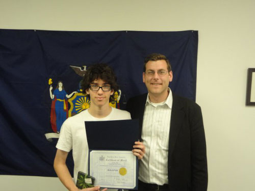 Assemblyman Braunstein with 1st Place Winner Robert Fein.