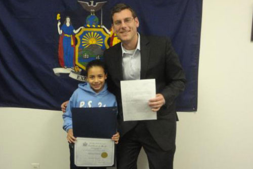 Congratulations to the 4th Grade Grand Prize Winner of Assemblyman Braunstein�s Halloween Essay and Drawing Contest 2011, Precious Cintron.
