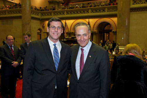On Monday, January 9, 2012, Senator Charles E. Schumer addressed the New York State Assembly, pictured here with Assemblyman Braunstein.
