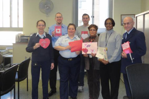 On Friday, February 10, 2012, Assemblyman Braunstein and his staff, along with Coast Guard Auxiliary Officers Geiger, Macinick, and Carobene delivered donations from the 16th Annual Valentines for Vets gift drive to the St. Albans Community Living Center of the VA New York Harbor Healthcare System, pictured here with Voluntary Service Chief Yvette Cintron, and Assistant Voluntary Service Chief Lisa Cummings.
