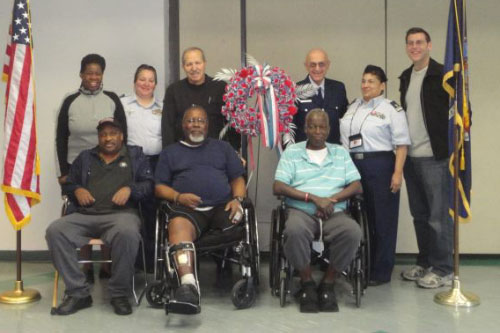 On Friday, February 10, 2012, Assemblyman Braunstein and his staff, along with Coast Guard Auxiliary Officers Geiger, Macinick, Pagan, and Carobene delivered donations from the 16th Annual Valentines for Vets gift drive to the New York State Veterans� Home at St. Albans, pictured here with veterans and Deirdre Samuel, Coordinator of Volunteer Services.