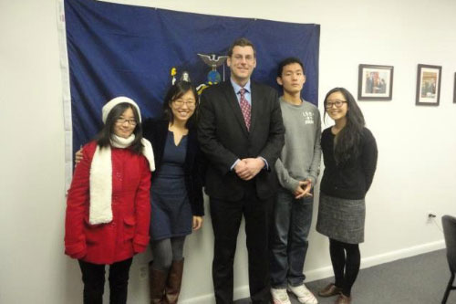 On February 21, 2012, Assemblyman Braunstein met with student representatives from the MinKwon Center for Community Action to discuss their legislative priorities, pictured here with Yoajin Kim, Emily Park, Jay Lee, and Organizing Associate Christina Chang.