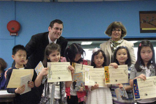 "On Saturday, March 24, 2012, Assemblyman Braunstein attended the Alley Pond Environmental Center's 33rd Annual Thomas Urban Bird Literary Art Contest ""Bringing Birds Back to Alley Pond Park"", with Irene Scheid, Executive Director, and Dr. Aline Euler, Educational Director, pictured here with the winners."