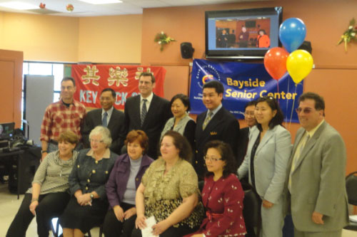 On Saturday, April 28, 2012, Assemblyman Braunstein attended the Bayside Senior Center Ribbon Cutting Ceremony pictured here with Co-Founders of the Key Luck Club, David Louie and Irene Cheung; Director of Field Operations, Debra Hoffer; Susan Shafer of Bayside Senior Center; Senator Toby Ann Stavisky; and Assemblywoman Grace Meng.
