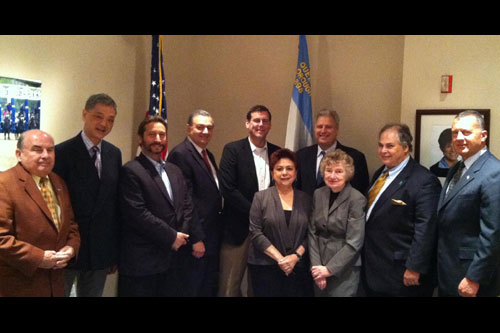On Friday, May 25, 2012, Assemblyman Braunstein met with the Queens Chamber of Commerce, pictured here with Chamber Treasurer Gerard Thornton of Runway Tire Service, Inc.; K.Y. Chow of Grand Meridian Printing; Robert Nemeroff of Melrose Credit Union; Chamber Legislative Advocacy Committee Chair Vincent Petraro of Law Offices of Vincent Petraro; Chamber Director of Operations Sophia Ganosis; Chamber Executive Director Jack Friedman; Chamber Associate Treasurer and Technology Chair Mary Vavruska of TCE Systems, Inc.; Chamber Policy and Communications Advisor Corey Bearak; and Thomas Bosco of the Port Authority of NY & NJ.