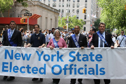 Assemblyman Braunstein attended the annual Celebrate Israel Parade on Sunday, June 3, 2012. Pictured with Assemblyman Phil Goldfeder, Assemblywoman Helene Weinstein, Assemblyman Hakeem Jeffries, and Assemblyman Alec Brook-Krasny.
