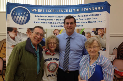 On June 23, 2012, Assemblyman Braunstein hosted a Senior Health and Wellness Forum at Selfhelp-Clearview Senior Center. From Left to Right: Jack Turk, Nonna Sawtschenko, Assemblyman Braunstein, Christa Brockman