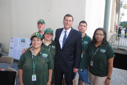 On Tuesday, August 7 2012, Assemblyman Braunstein attended the 111th Precinct's National Night Out Against Crime, pictured here with CERT Leader Susan Macinick and other members of CERT.