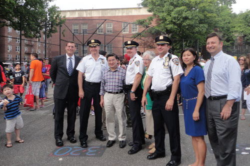 On Tuesday, August 7, 2012, Assemblyman Braunstein attended the 109th Precinct's National Night Out Against Crime, pictured here with Councilman Peter Koo, 109th Precinct Commanding Officer Brian Maguire, Senator Toby Ann Stavisky, Assemblywoman Grace Meng.